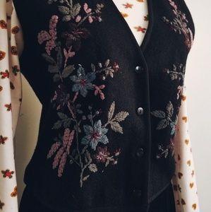 Floral Embroidered Wool Vest
